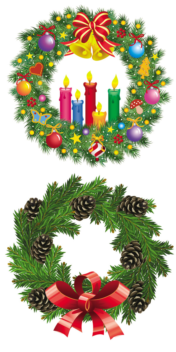 Christmas Wreath Vector.4 Designer Christmas Wreath Vector
