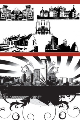 City building black and white silhouette Vector