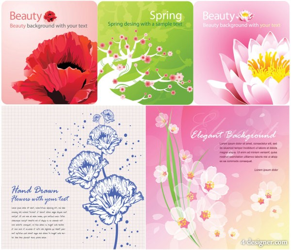 Colored flowers card background vector material
