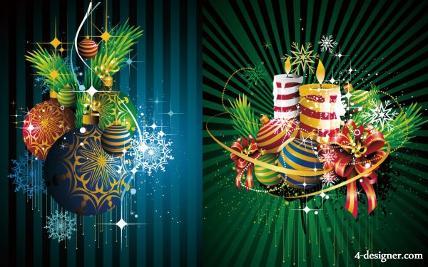 Colorful Christmas ornaments background Vector Vector