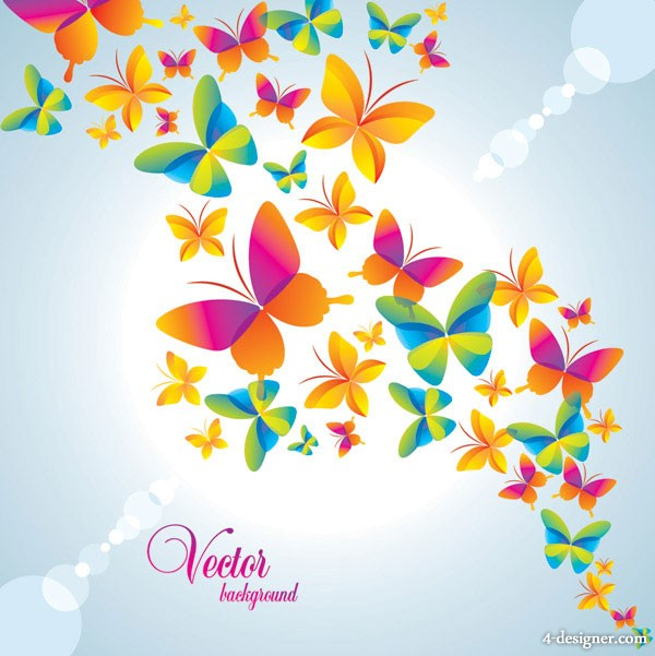 Colorful butterfly background vector material 2