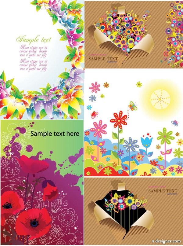 Colorful flowers card background Vector