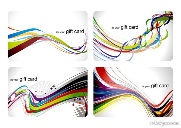 Colorful gift card dynamic lines background vector material