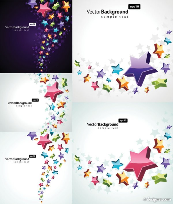 Colorful three dimensional star background vector material
