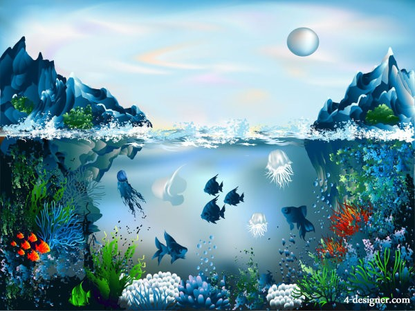 Colorful underwater world 03 vector material
