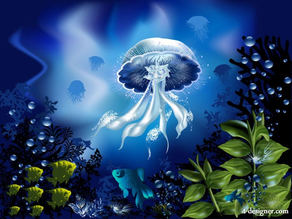 Colorful underwater world 04 vector material