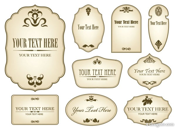 Concise bottle stickers 01 Vector