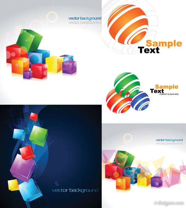 Cube and sphere graphics vector material