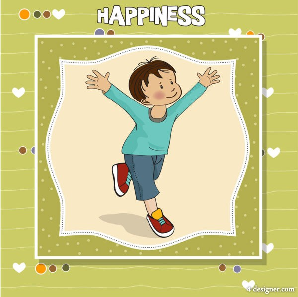 Cute illustrator of children 01 vector material