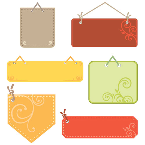 Cute tag labels vector material