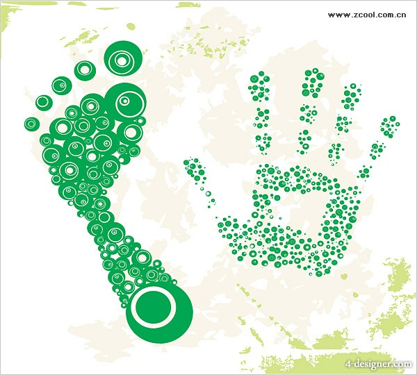 Dots footprints and palm Vector