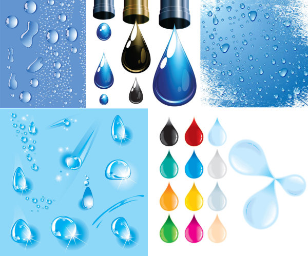 Drops water droplets theme vector material