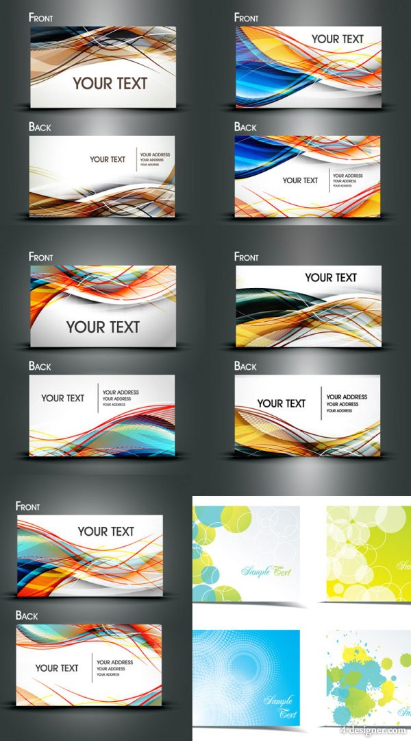 Dynamic flow line business card template vector material Vector