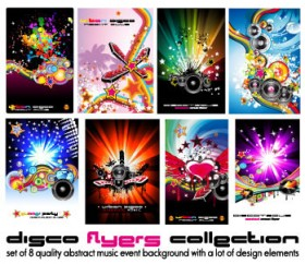 Dynamic musical elements posters vector material Vector