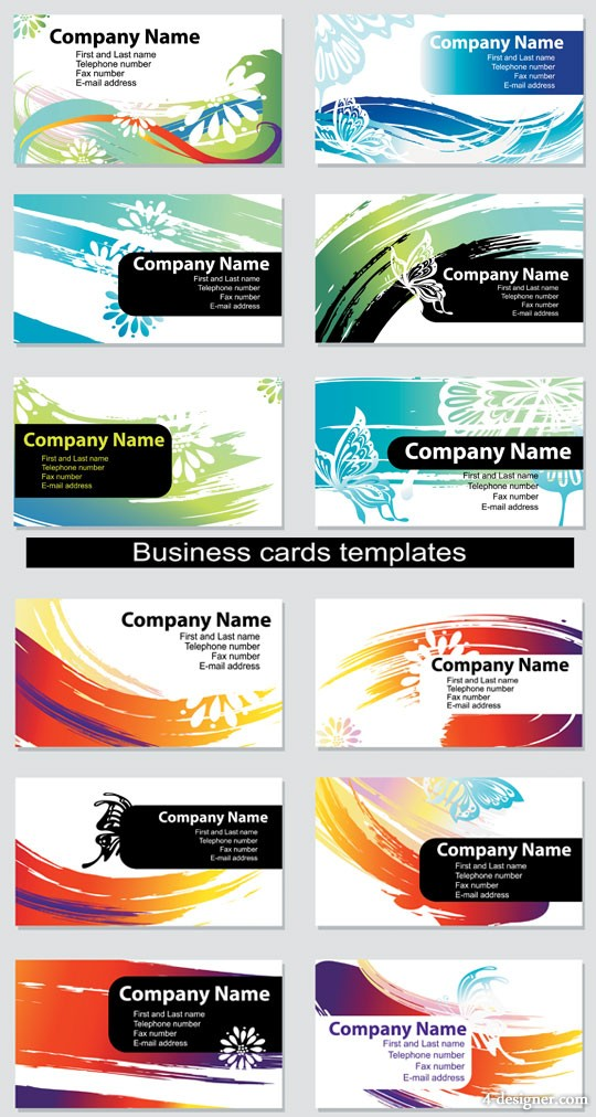 Energetic and colorful cards vector material