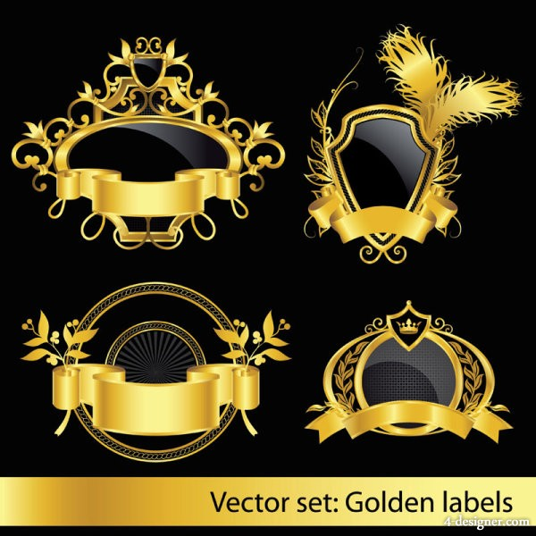European classical pattern label 01 Vector