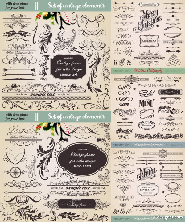 European lace pattern vector material Vector