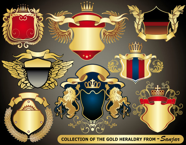 European style coat of arms set Vector