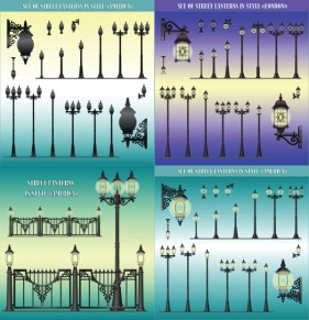 European style street lamps chandeliers wall Vector
