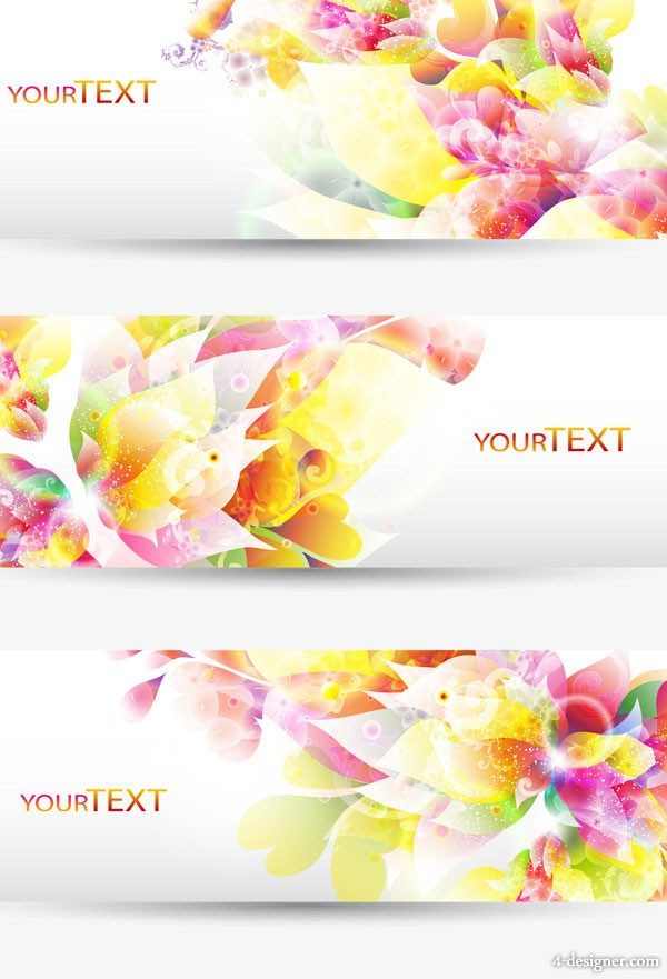Fantasy flowers background banner template vector material 1