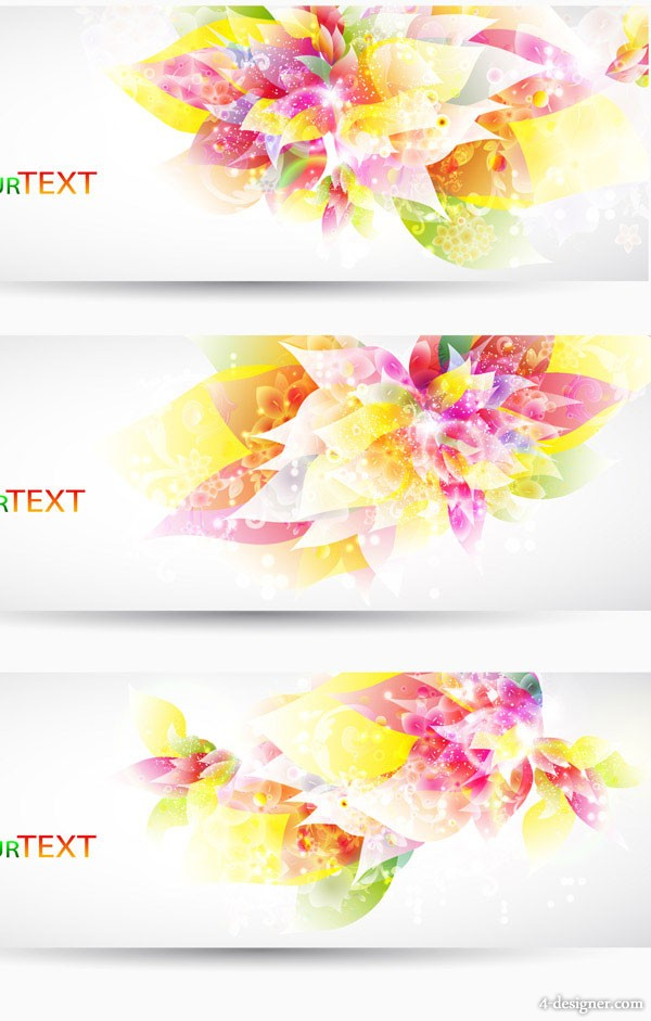 Fantasy flowers background banner template vector material 2