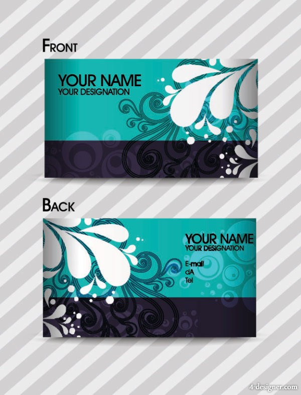 Fashion pattern business card template 01 vector material