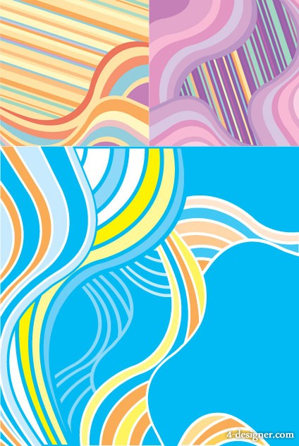 Fashion wave background vector material