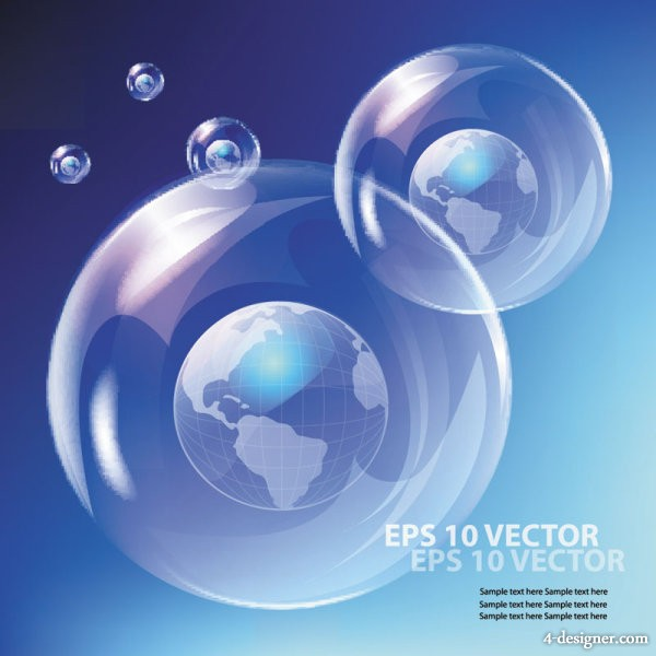 Fine bubbles and blue sky 03 vector material