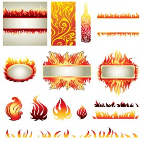 Flame elements vector material