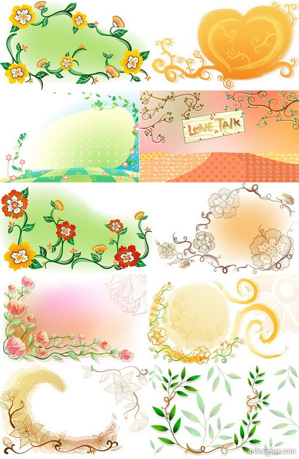 Fresh hand painted flowers background vector case 3