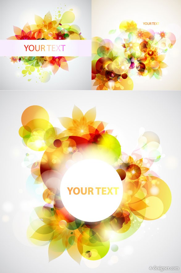 Glare flowers background vector material