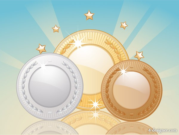 Gold and silver bronze vector material