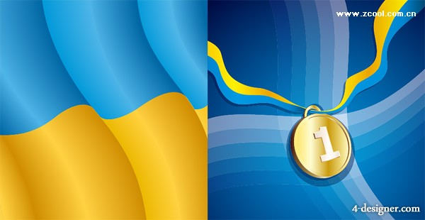 Gold medal with wave background vector material