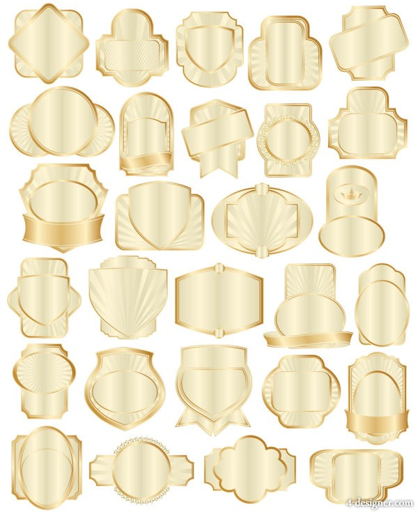 Golden bottle stickers pooled 01 vector material