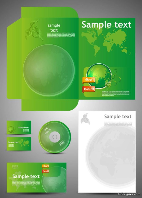 Green card template 05 vector material