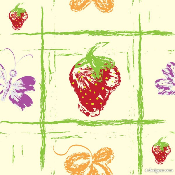 Hand painted fruit background vector material 1