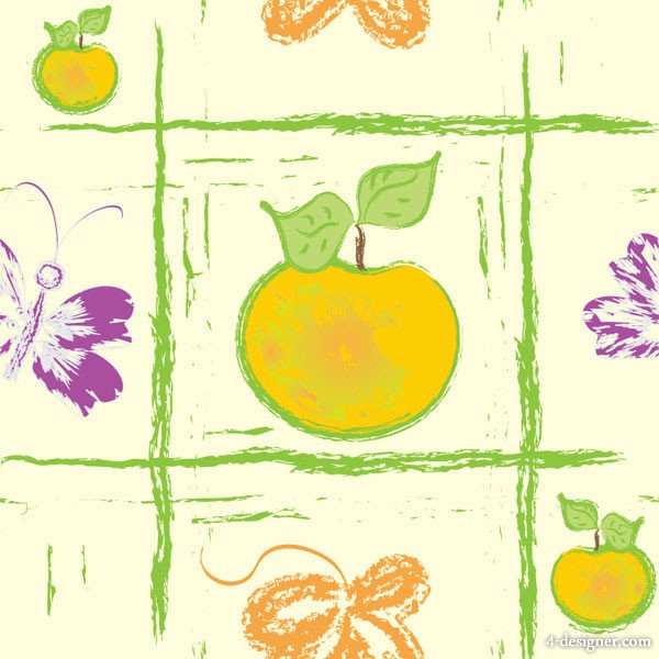 Hand painted fruit background vector material 4
