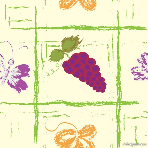 Hand painted fruit background vector material 5