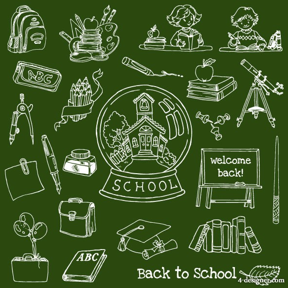 Hand painted learning hand painted items 01 vector material