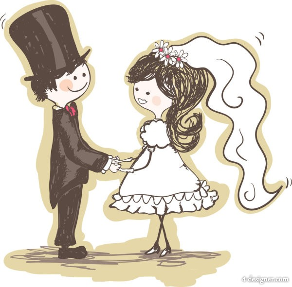 Hand painted version of the bride and groom 02 Vector