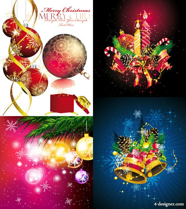 Hanging ball Christmas ornaments beautiful background Vector