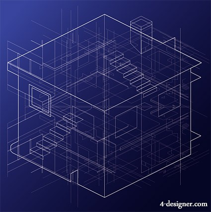 House lines is a perspective view of vector material