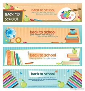 Illustration style education theme banner design template vector material 2