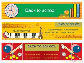 Illustration style education theme banner design template vector material 3