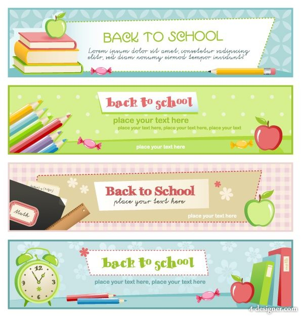 Illustration style education theme banner design template vector material 4