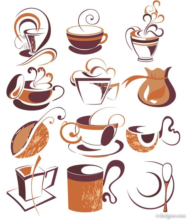 Line art coffee elements 01 vector material
