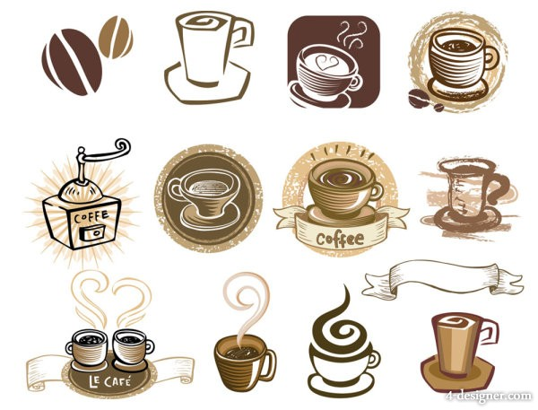 Line art coffee elements 02 vector material