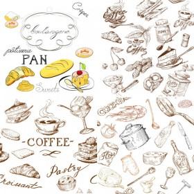 Line drawing food and kitchen utensils Vector