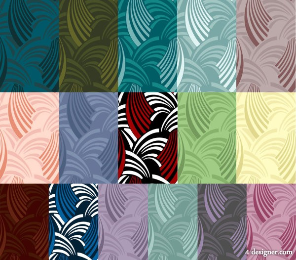 Multi style waves background vector material