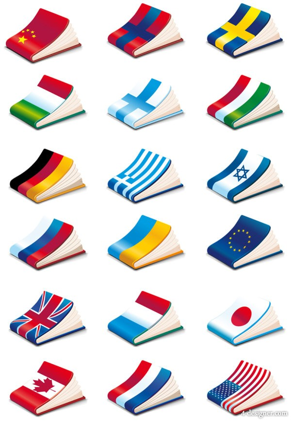 National flags cover notebook Vector